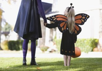 89793505 Girl With Mother On Halloween