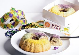 Eat Fit King Cake 2 cakes cut w box mask photo by Swerve