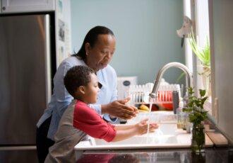 Mom and Child Handwashing