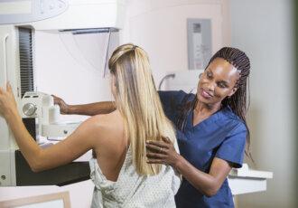 Woman getting cancer screening