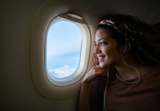 Woman on airplane
