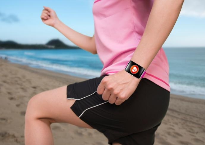526111759 Woman Exercising Wearing Watchband Touchscreen