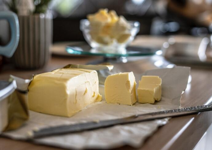 Block of butter with knife