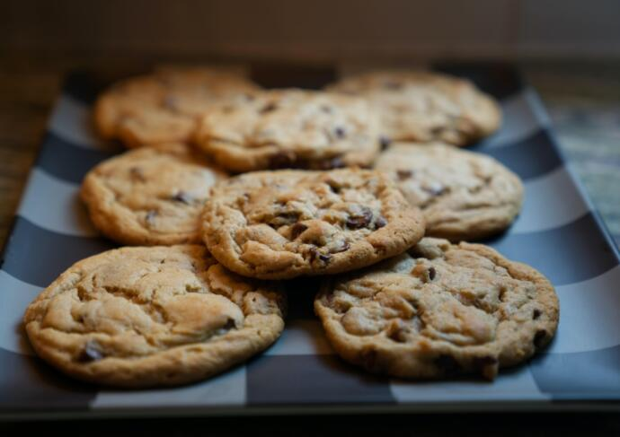 Chocolate Chip Cookies on Oven Rack