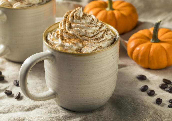 Pumpkin spice latte with fall decor