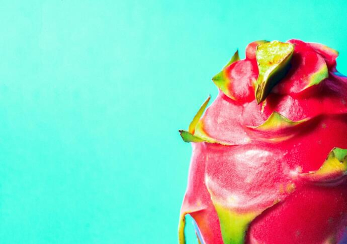 Red dragon fruit on teal background