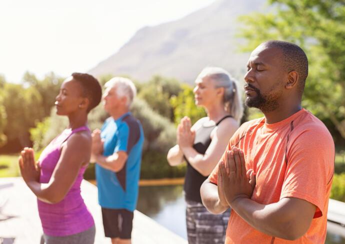 Yoga class pain management man