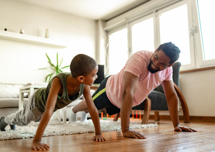Kids exercise at home