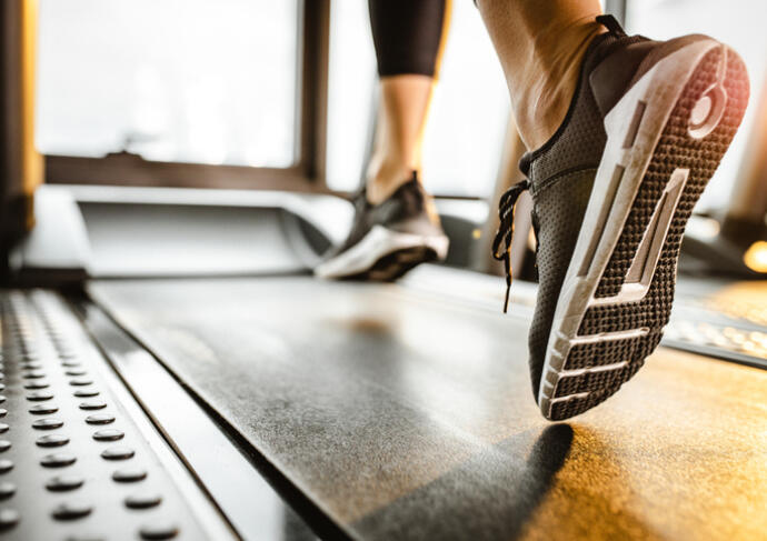 Shoes on a treadmill