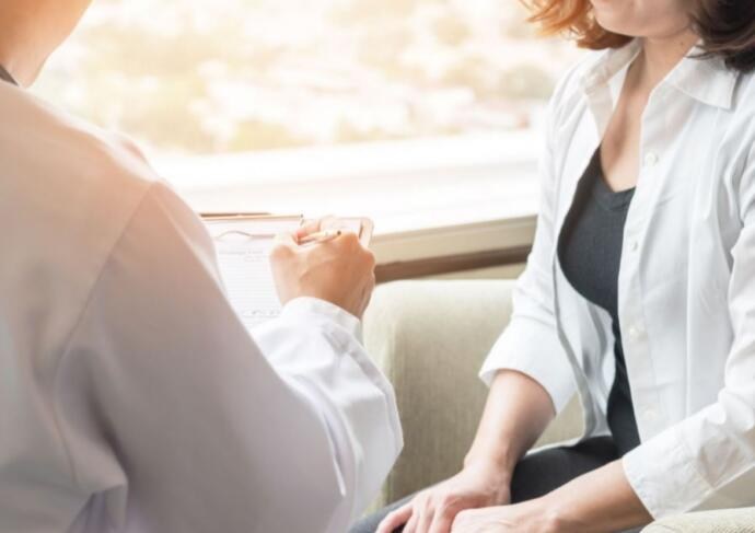 Woman at doctor visit