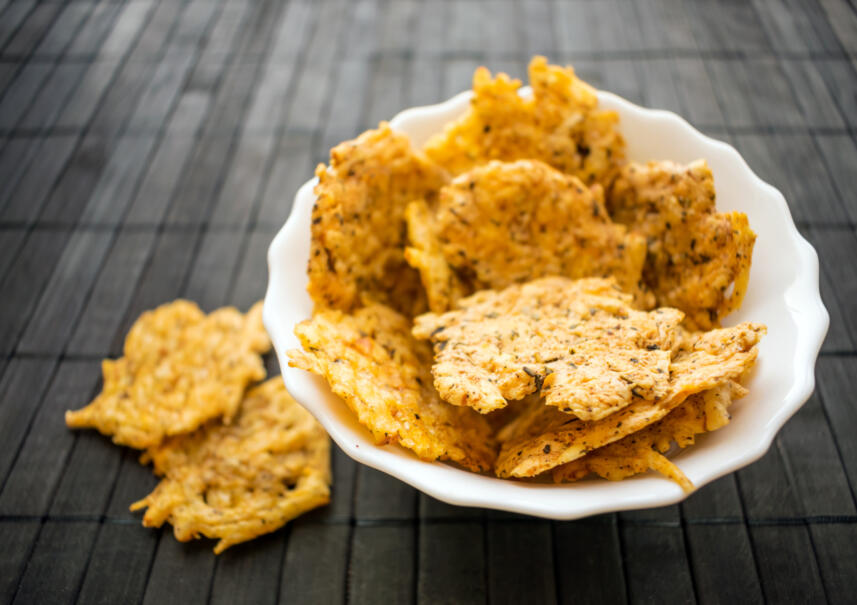 Cheese Crisps in Snack Bowl