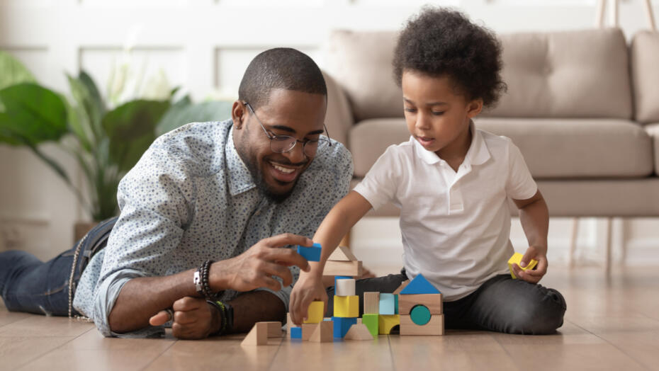 Child and Father with Blocks