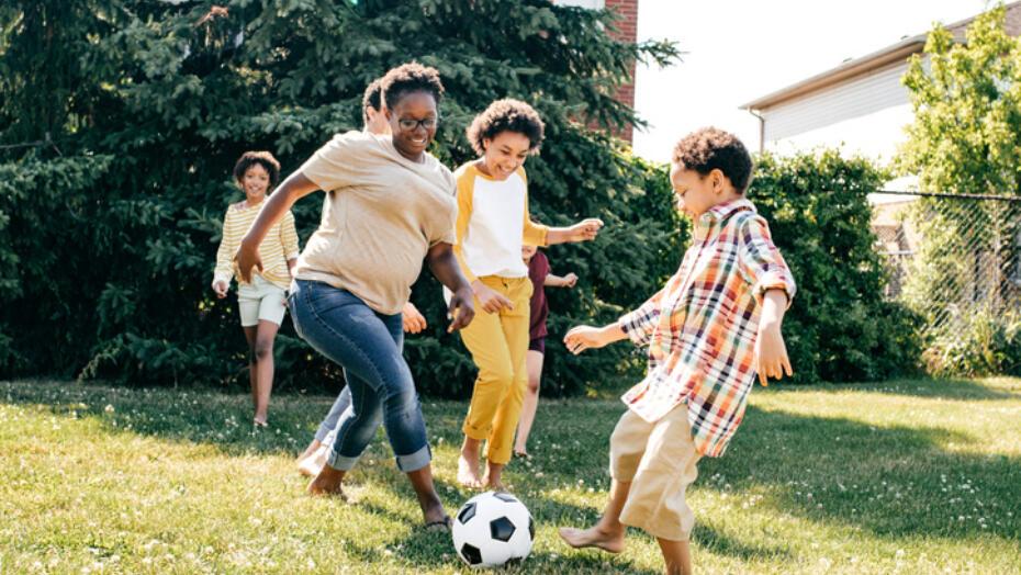 Children Exercising Soccer Running
