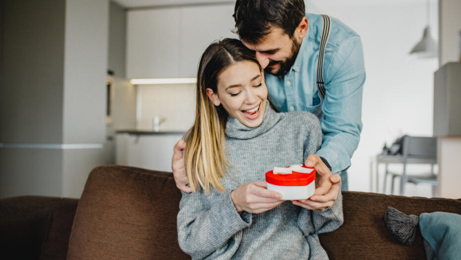 Couple with Valentines gift