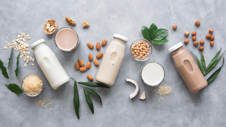 Flat lay of plant based milks
