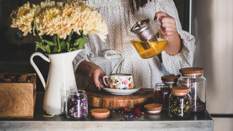 Girl brewing loose leaf tea
