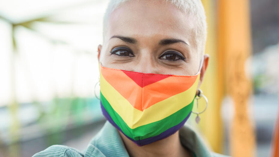 LGBTQ healthcare woman in mask