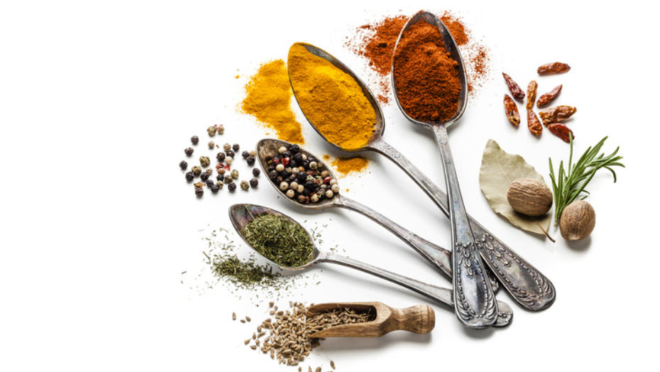 Spices with spoons