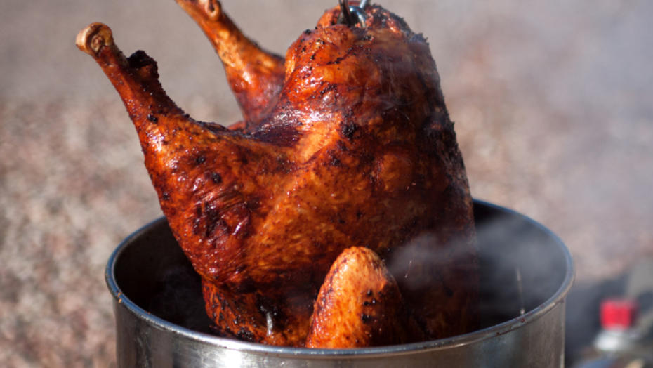 Turkey coming out a fryer