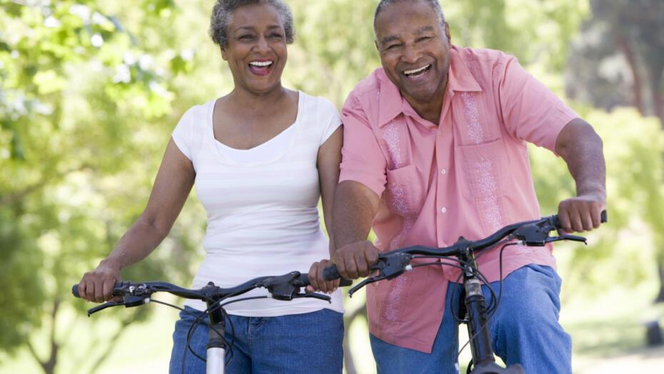 Couple riding bike