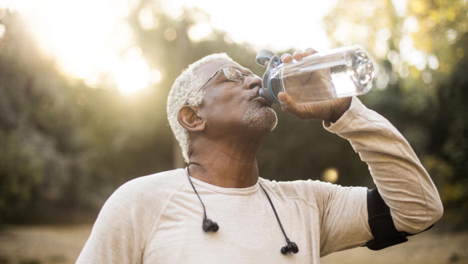 Hydration tips man drinking water