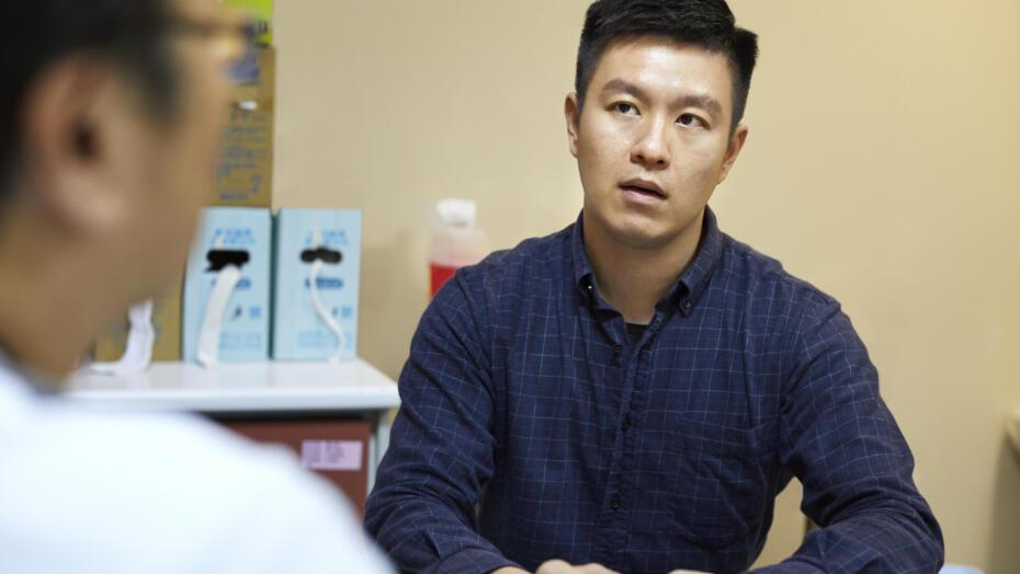 Male patient doctor visit