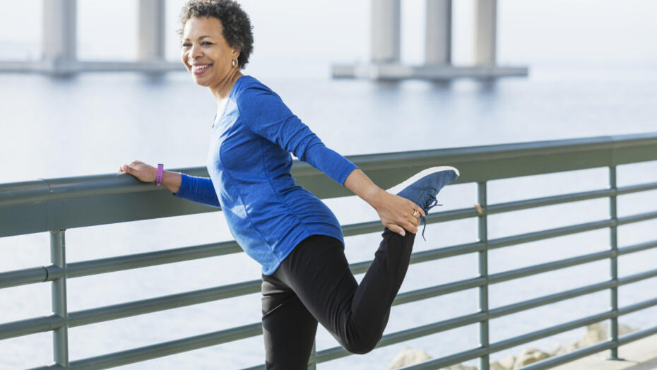 Older woman stretching joints exercise fitness