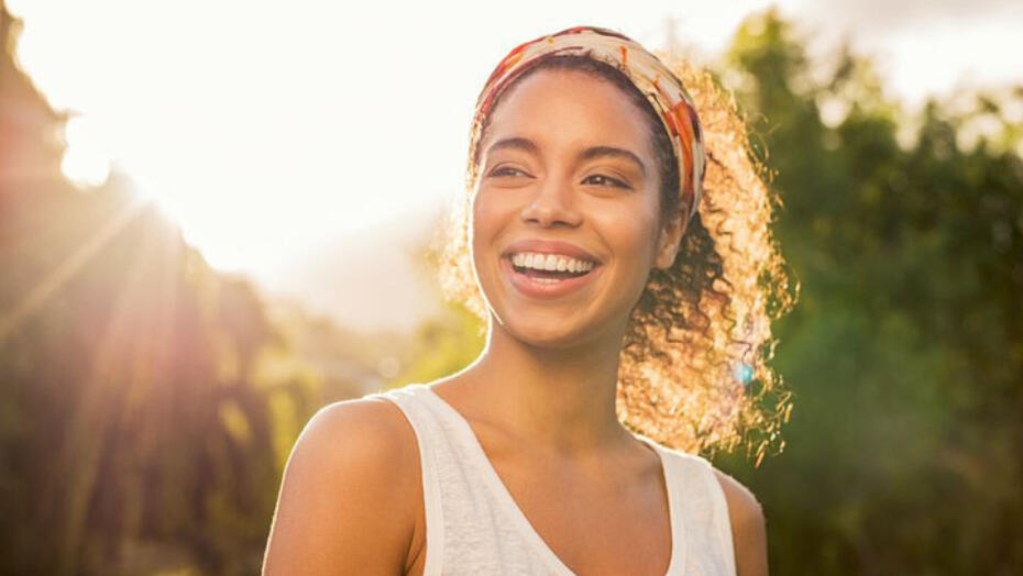 Young woman in sunshine