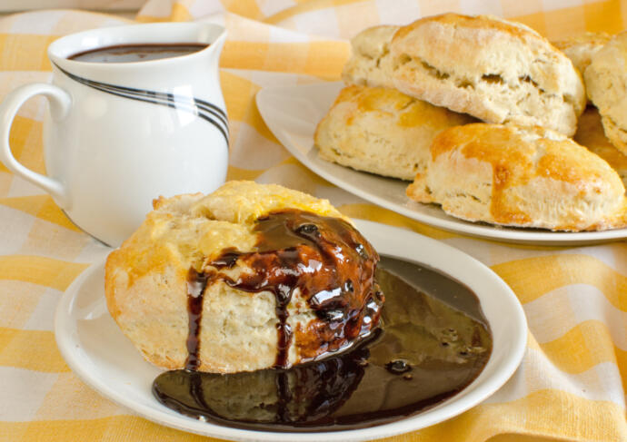 Chocolate gravy over biscuits