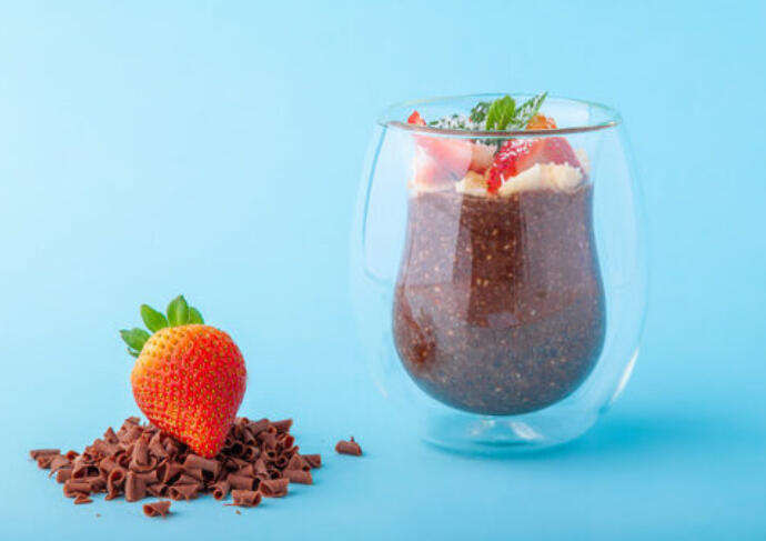 Chocolate Strawberry Chia Seed Pudding