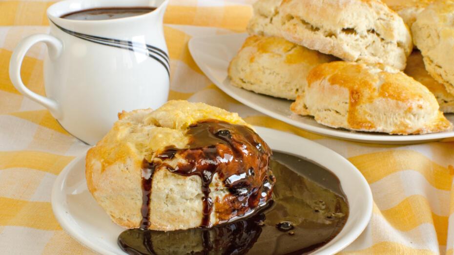 Chocolate gravy over biscuits