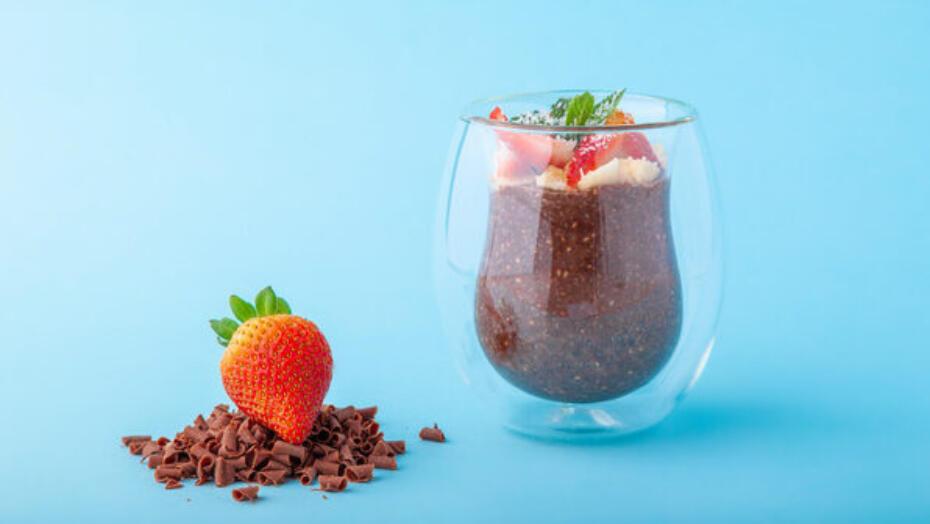 Chocolate Strawberry Chia Seed Pudding