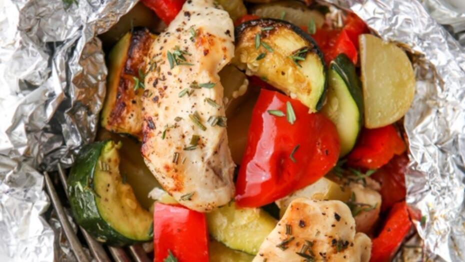 Chicken veggie foil packets