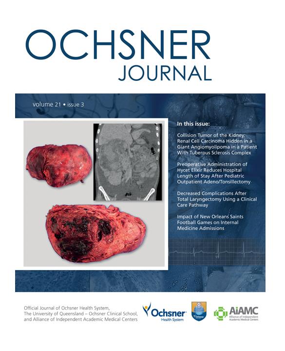 Ochsner Journal Fall 2021 Issue Cover
