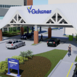 The entrance to the Ochsner Orthopedic and Sports Medicine Institute, opening in Fall 2019.