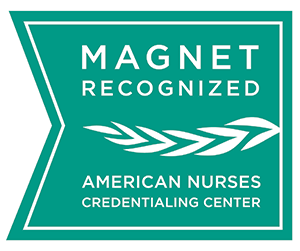 "Green logo that states: "" Magnet Recognized. American Nurses Credentialing Center."""