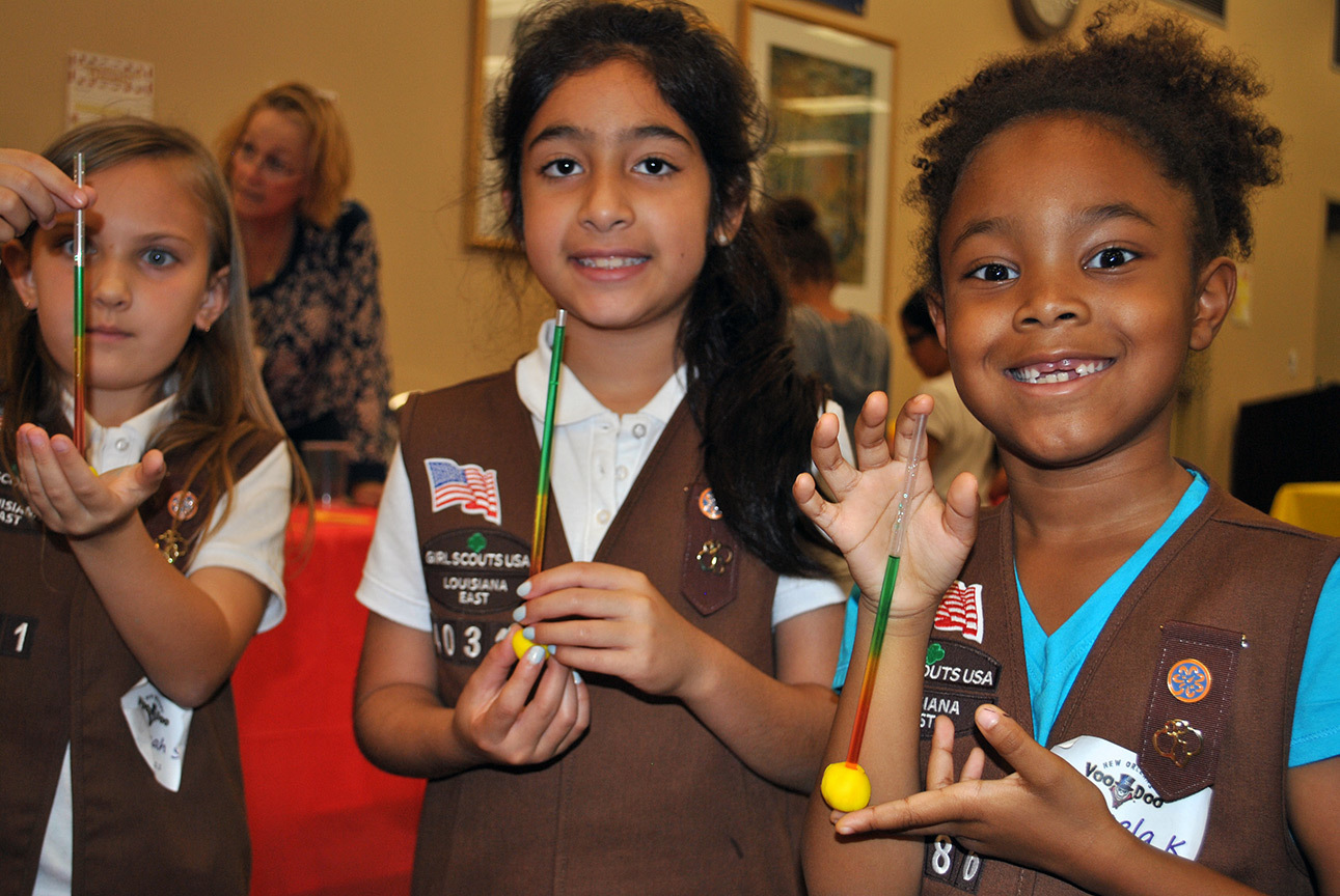 Girl Scout Brownies participate in Ochsner's Science Saturday.